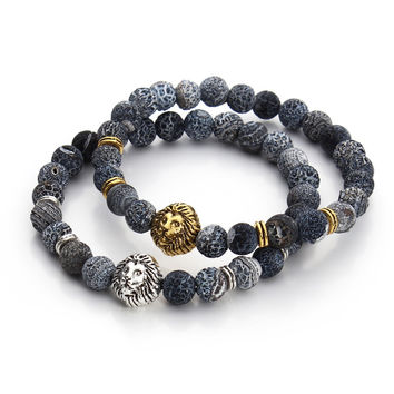 2017 Tiger Eye Lion Head Bracelet Buddha beads Bracelets Bangles Charm Natural Stone Bracelet Men Jewelry pulseras hombre
