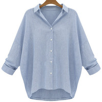 Blue Shirt Collar Long Sleeve Blouse