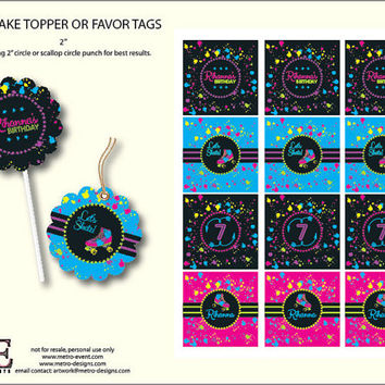 Skate Party Cupcake Toppers, 1980's Tags, Neon Party Decor, 80s Birthday Tags, Roller Skate Birthday Cupcake Toppers