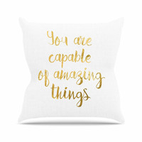 "NL Designs ""Amazing Things"" Gold White Outdoor Throw Pillow"