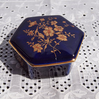 Beautiful Cobalt Blue Limoges Porcelain Trinket Box
