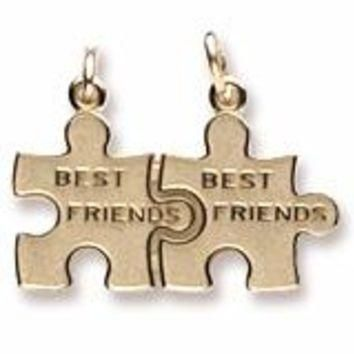 Best Friend Puzzle Charm in Yellow Gold Plated