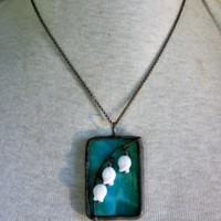 Stained Glass Belle Fleur Pendant Necklace Lily of the Valley Flowers
