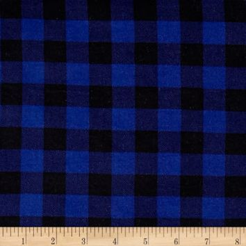 Brushed Jersey Knit Plaid Blue/Black