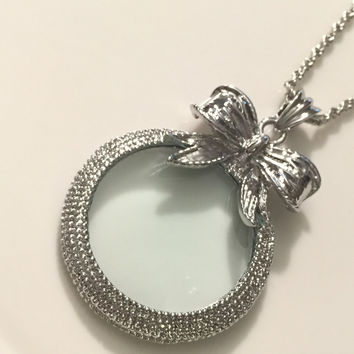 Magnifying Glass Necklace, Magnify Glass Necklace, Magnifying Glass, Magnify Glass, Glass Locket, Bow Magnify Glass, Gift for Her