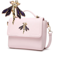 Adorable crossbody bag with a Rhinestone Dragonfly embleshment on front flap- 3 colors
