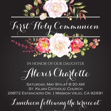 Floral First Communion Invitations