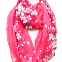 Hot Pink Floral Infinity Scarf