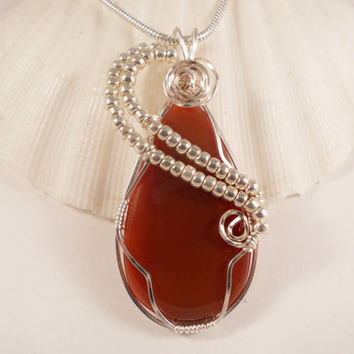 Wire Wrapped Carnelian, Pendant, Handmade Jewelry, elainesgems