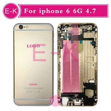 High quality Complete Full Middle Frame Chassis For iPhone 6 6G Housing Assembly with Flex Cable Cover Free Custom IMEI + Tools
