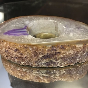 5 DAY SALE (Ends Soon) Purple and White Agate Thick Slab tea light candle holder. Boho chic home decor. Coffee table homewares.