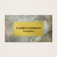 Chic Green Washed Distressed Grunge, Gold Business Card
