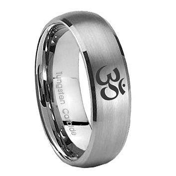 8mm Om Aum Yoga  Dome Brushed Tungsten Carbide Mens Promise Ring
