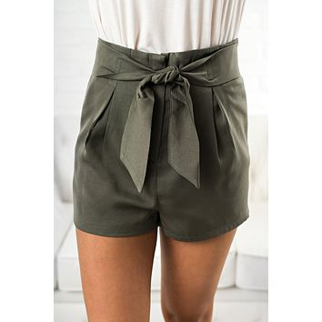 Something Simple Tie Shorts (Olive)