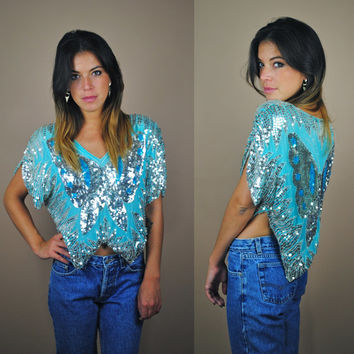 Vintage 80s 90s turquoise silk sequin glitter butterfly crop top blouse