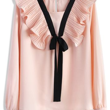 Contrast Pink Top with Accordion Pleats