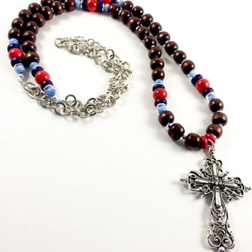 Wood Beaded Necklace, Long Wood Necklace, Long Cross Necklace, Red Bead Necklace, Long Silver Necklace