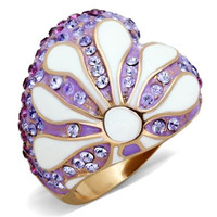 Rose Gold Lavender CZ Conch Shell Stainless Steel Ring