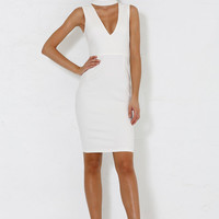 Aara Choker Dress - White