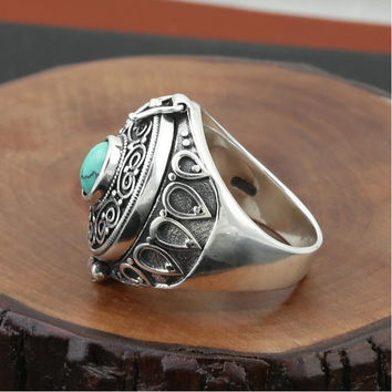 Gaudencio box creative money Nepal Bohemia style ring 100% Real 925 sterling silver jewelry for men or women wedding ring GR21