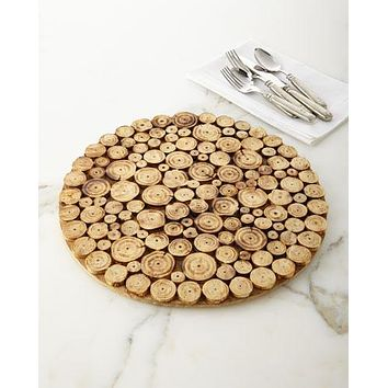 """14"""" Large Rustic Wood Wooden Log Slice Round Platter or Charger Plate"""