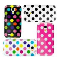 Eco-Fused 9 Piece Polka Dot TPU Flex Gel Case Bundle for Samsung Galaxy S4 Mini (I9195) / 4 Polka Dot TPU Cover Cases / 2 Stylus Pens / 2 Screen Protectors