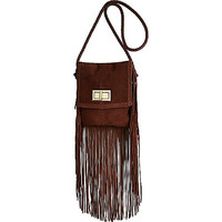 River Island Womens Brown leather fringed cross body bag