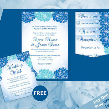 DIY Printable Wedding Pocket Fold Invitation Set A7 5 x 7 | Editable MS Word file | Instant Download | Winter Blue Turquoise Dahlia Flower