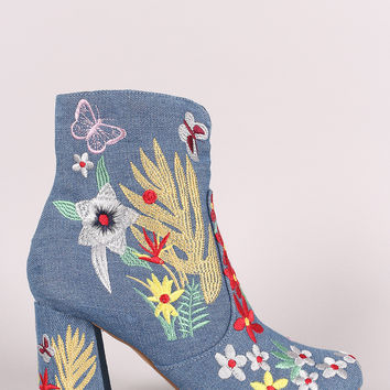 Shoe Republic LA Denim Embroidery Floral Chunky Heeled Booties