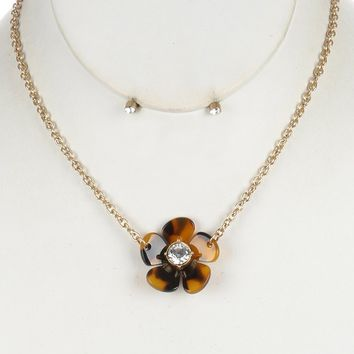 Brown Marble Finish Lucite Flower Pendant Necklace And Earring Set