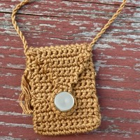 Amber Earth Spirit Pouch - Hand crocheted with Hand Spun Spirit Cord