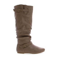Kalisa106P Taupe Pu By Wild Diva, Slouchy Ruffled Shaft Inner Cell Phone Pouch Mid Calf Boots