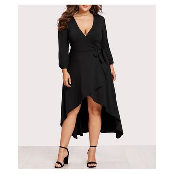 Black Long Sleeve Self Tie High Low Wrap Dress