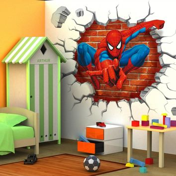 Spiderman Wall Stickers Mural 3D Hole