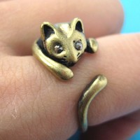 SALE - Kitty Cat Animal Wrap Ring in Bronze Sizes 5 to 9 available
