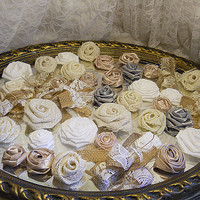 Bulk SALE Lot of 40 Burlap & Fabric Flowers, natural tones. Ready to Ship!