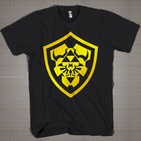 Zelda Triforce Shield Logo  Mens and Women T-Shirt Available Color Black And White