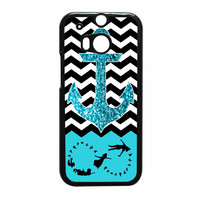 Peter Pan Mint Glitter Anchor Black Chevron HTC One M8 Case
