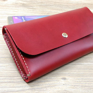 iPhone 6s Case, iPhone 6 Plus Case, iPhone 6 Case, Claret Red Woman Wallet, Personalized Christmas Gift For Her, N447