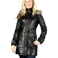 Knoles & Carter Women`s Leather Coat with Fur-trimmed Hood $159.99