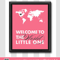 custom wall decor for baby girls new baby gifts girl nursery decor welcome to the world baby decor world map nursery art new mom gifts