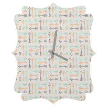 Allyson Johnson Peachy Arrows Pattern Quatrefoil Clock