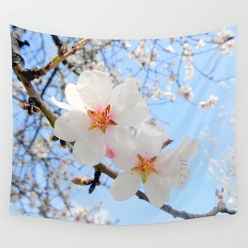 plum tree blossoms closeup Wall Tapestry by ARTbyJWP