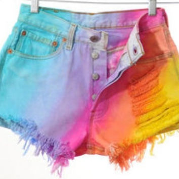 Any Size High Waisted Pastel Rainbow Dyed Distressed Frayed Denim Shorts