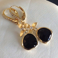 dangle earring Easter gift Mothers day gift Onyx drop Wedding Jewelry Black and gold earring Spring Fashion, Prom earrings Bridesmaids gifts