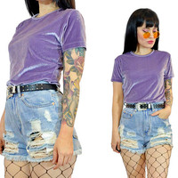 vintage 90s purple crushed velvet tshirt pastel grunge pale lilac shirt cyber grunge minimalist kawaii top blouse small