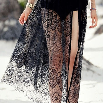 Hot Beach Dress Europe United States New Sexy Mermaid Personality Mesh Hollow Loose Half Body Wipe Chest Beach Skirt