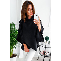 Plain Color Twist Pullover with Bat Sleeves