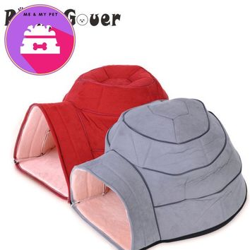 Pet Sleep Kennel Red Little Castle Dog House Snail Shape Soft Warm Cat Dogs Beds For Puppy