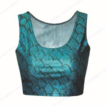 Running Vests Jogging Blue Mermaid Scales Fitness Gym Cropped Tanks Fish Scale Sports Bustier Crop Top Slim  Tube Top Women's Sexy Blouse KO_11_1